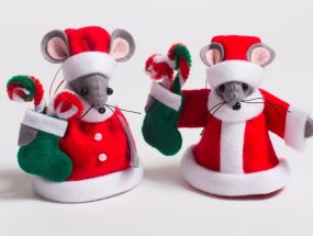Christmas Mr & Mrs small Santa Mouse