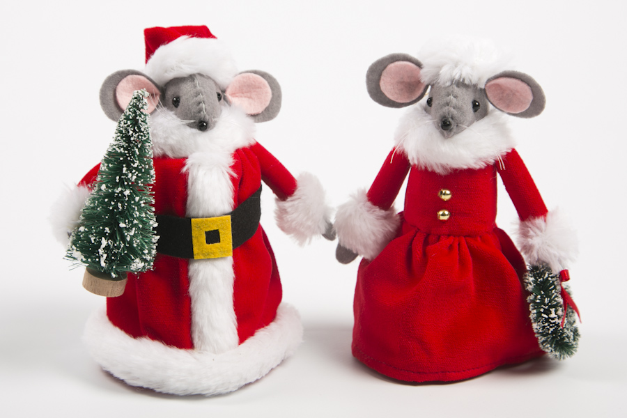 tartan christmas mice tree decorations 1299 santa mrs mouse - Christmas Mouse Decorations