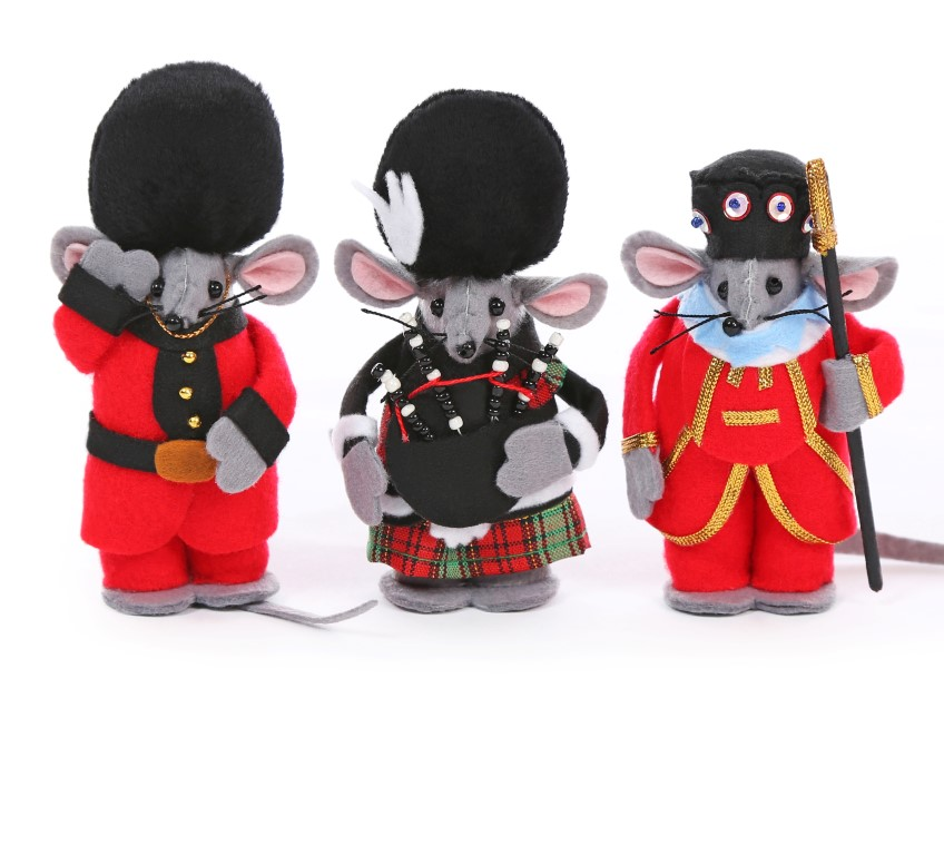 Solder, Beefeater and Piper Christmas Tree Mouse Decorations